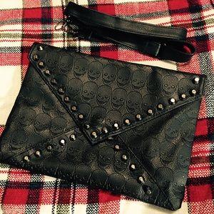 Handbags - Studded Black Envelope Skull Clutch w/ Strap 💀